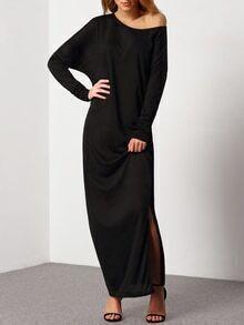 Vestido oblique hombro slit -negro