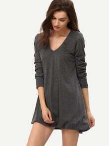 Grey V Neck Loose Asymetric High Low Dress