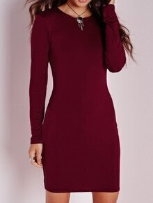 Wine Red Long Sleeve Bodycon Dress