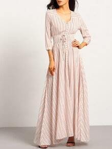 Pink V Neck Striped Split Maxi Dress