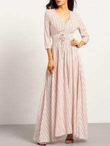 Pink V Neck Striped Split Maxi Dress