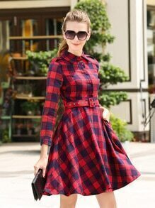 Red Blue Lapel Plaid Epaulet Dress