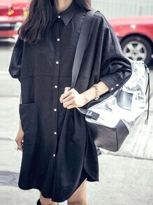 Black Lapel Buttons Pockets Shirt Dress