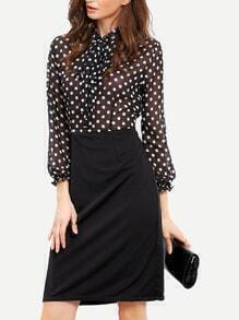 Black Long Sleeve Polka Dot Tie Dress
