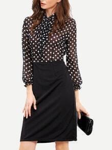 Black Long Sleeve Polka Dot Tie Dress