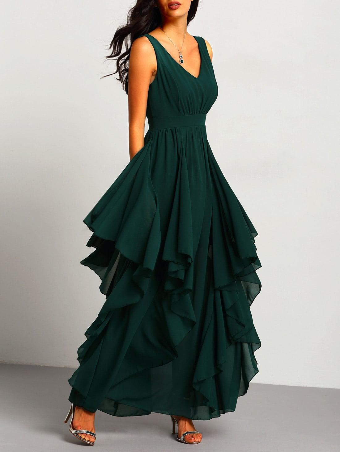 Зеленый Глубокий V Шеи Макси Шифоновое Платье