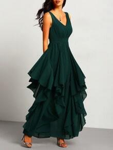 Maxi robe en mousseline col V foncé -vert