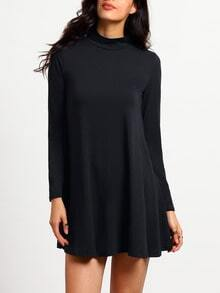 Black Stand Collar Long Sleeve Loose Dress