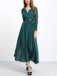 Green Long Sleeve Buttons Maxi Dress