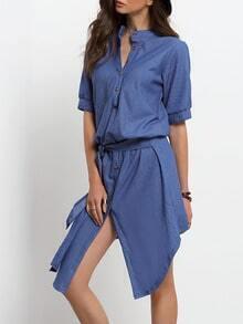 Blue Stand Collar Buttons Denim Dress