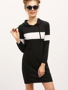 Women Color Block Hooded Sweatshirt Dress