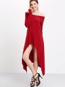 Burgundy Asymmetrical Neck And Hem Jersey Dress