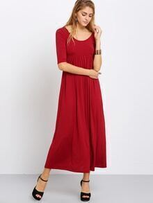 Burgundy Scoop Neck Cut Out Back Maxi Dress