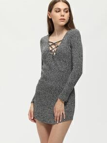 Grey Lace Up Neckline Tight Jersey Dress