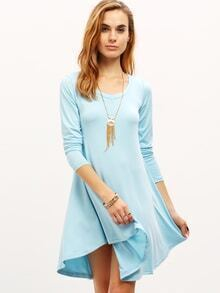 Blue V-Neck Long Sleeve Tshirt Dress