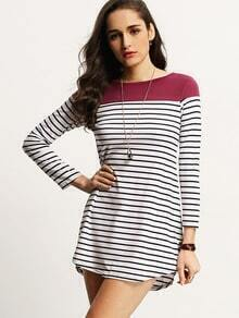 Women Color Block Purple Striped Tshirt Dress