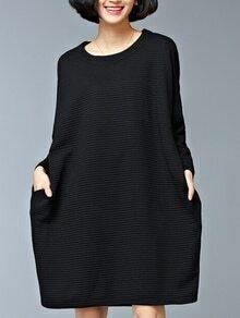 Black Pocket Oversized Thicken Dress