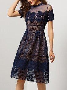 Blue Short Sleeve Sheer Mesh Hollow Dress