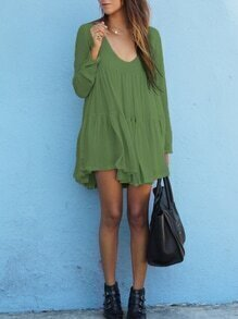 Green V Neck Long Sleeve Pleated Dress