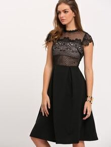 Black Lace Insert Crochet Hollow Flare Dress
