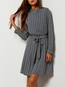 Blue Wave Pattern Stand Collar Belted Dress
