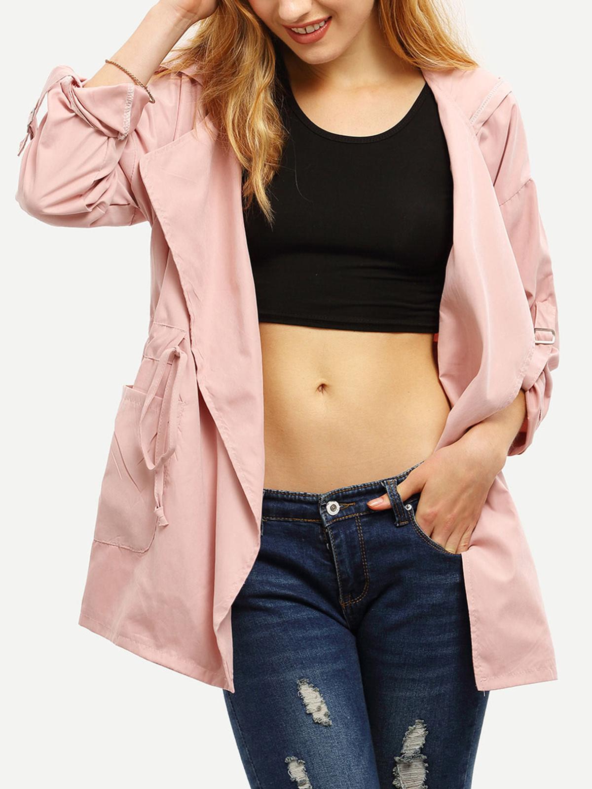 粉紅色 連帽 束帶 口袋 外套