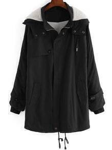 Black Hooded Long Sleeve Pockets Loose Coat