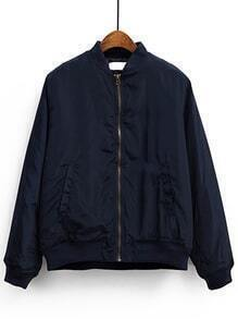 Navy Blue Stand Collar Pocket Padded Jacket