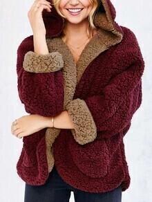 Burgundy Hooded Loose Faux Fur Coat