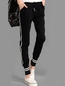 Pantalón cintura con cinta rayas -negro