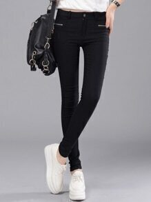 Black Skinny Zipper Pockets Pant
