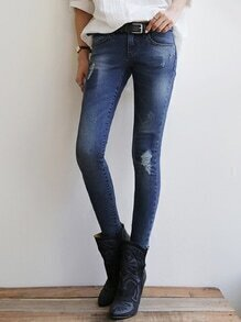 Navy Slim Bleached Ripped Denim Pant