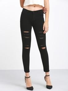 Pantalón cintura alta rotos denim -negro