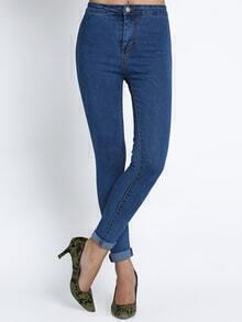 Navy Slim Button Denim Pant