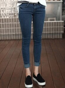Blue Thicken Slim Leg Jeans