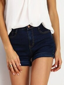 Navy Pockets Denim Shorts