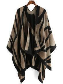 Khaki Black Woman Loose Cape
