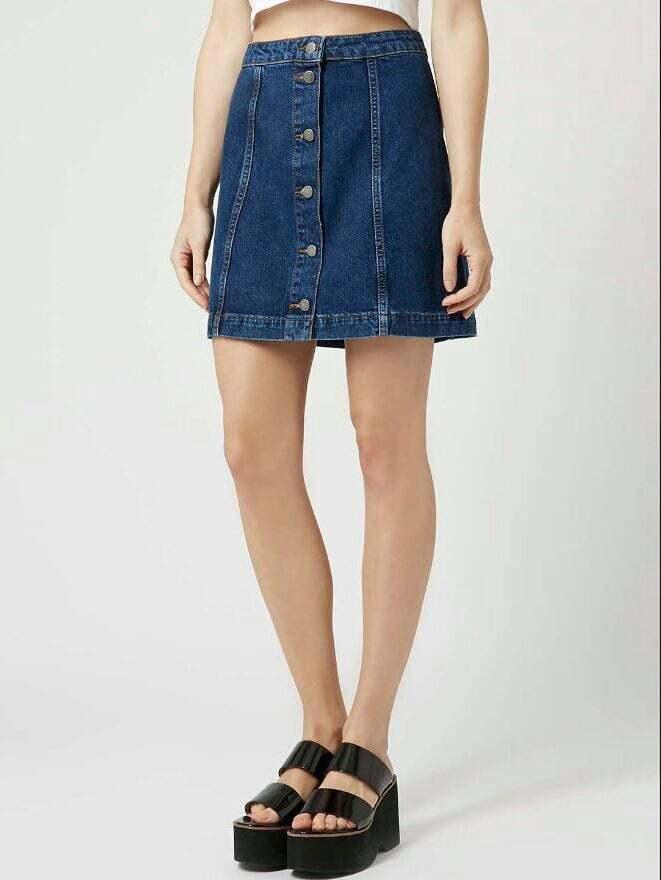 blue single breasted a line denim skirt. Black Bedroom Furniture Sets. Home Design Ideas