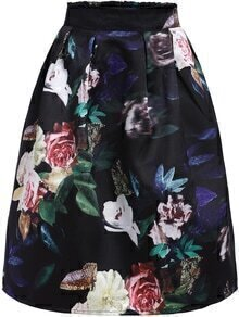 Multicolor High Waist Floral Flare Skirt