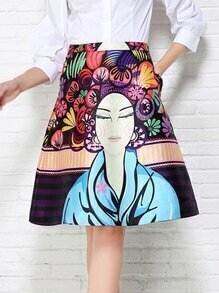 Multicolor Vintage Portrait Print Skirt