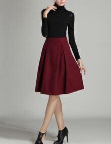 Burgundy High Waist Midi Woolen Skirt