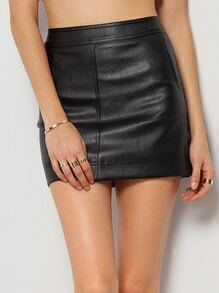 Black Bodycon PU Skirt