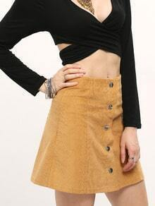 Khaki Button Front A Line Skirt