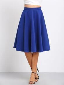 Blue High Waist Flare Long Skirt