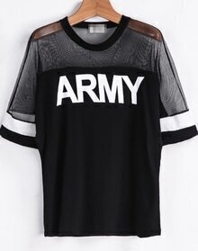 Black Contrast Sheer Mesh Yoke ARMY Punk Comfortable Halloween Eve Sexey Print T-Shirt