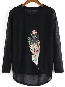 Black Long Sleeve Feather Print Punk Comfortable Halloween Eve Sexey Loose T-Shirt