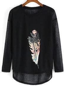 Black Long Sleeve Feather Print Punk Comfortable Halloween Eve Sexey Loose T-Shirt