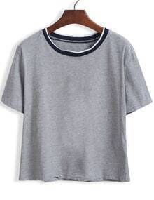 Grey Short Sleeve Contrast Collar Crop T-Shirt