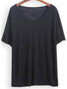 Black V Neck Short Sleeve Loose T-Shirt