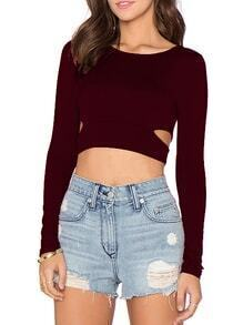 Wine Red Cut Out Punk Comfortable Halloween Eve Sexey Crop T-Shirt
